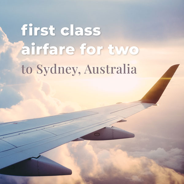 First-class airfare for 2 to Sydney, Australia