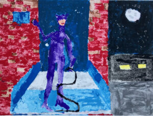 Cat Woman monoprint by Jared Quinney