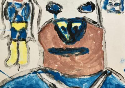 Super Dog monoprint by Randy Stennes