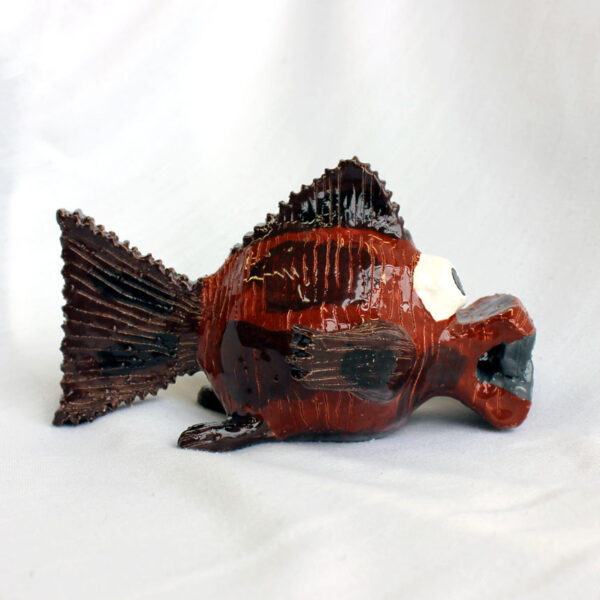 Side view of piranha sculpture by Amber Tyreman