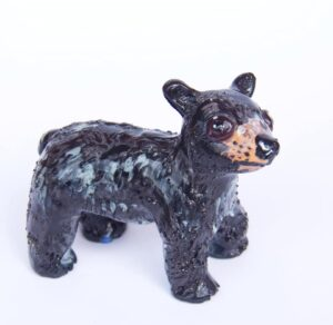Small black bear sculpture by Holly Sabourin