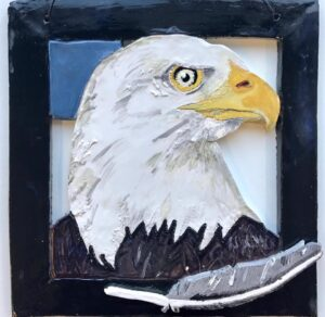 Ceramic Eagle wall plaque by Holly Sabourin