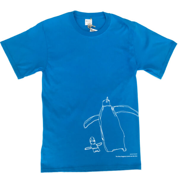 Blue T-Shirt with white penguin drawing on bottom right corner