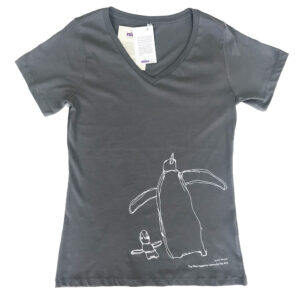Grey v-neck shirt with white penguin drawing