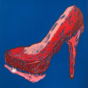 Lino relief print of a red high heel shoe on blue background