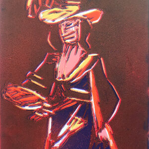 Orange Figure relief print by Dean Bardal