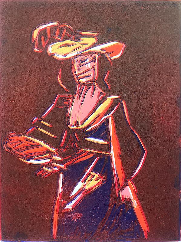 Orange Figure relief print by Dean Bardal
