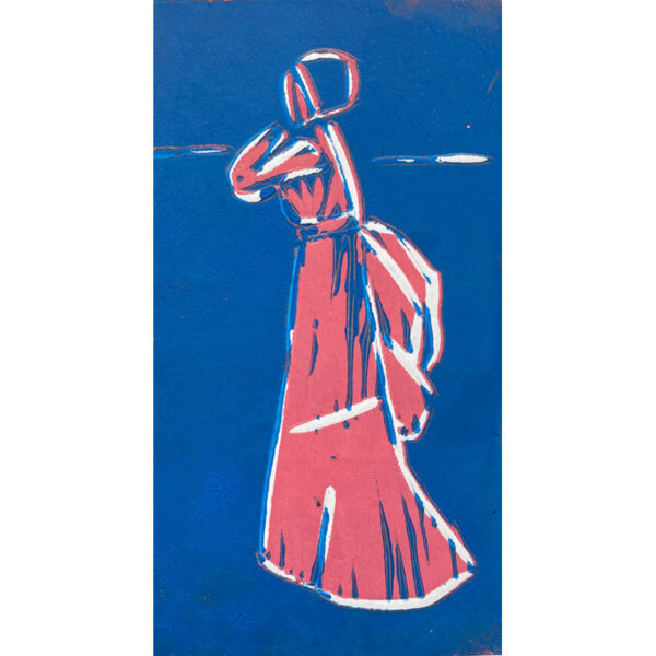 Relief print of a pink figure on a blue background by Dean Bardal