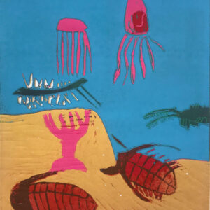 Lino relief print of Precambrian sea creatures by Jared Quinney