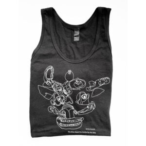 Black tank top with a white dragon drawing by Jaymee Howarth