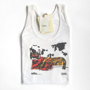 White tank top with a tiger drawing by Jaymee Howarth