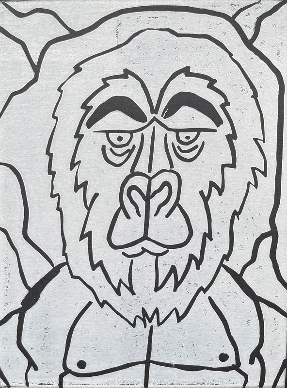 Black and white gorilla lino print by Steven Niles