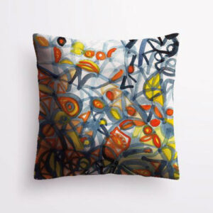 Square pillow with a blue, orange, and yellow abstract painting by Uli Rossier
