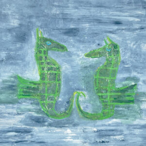 Monoprint of two green seahorses on a blue background by Yvette Prefontaine