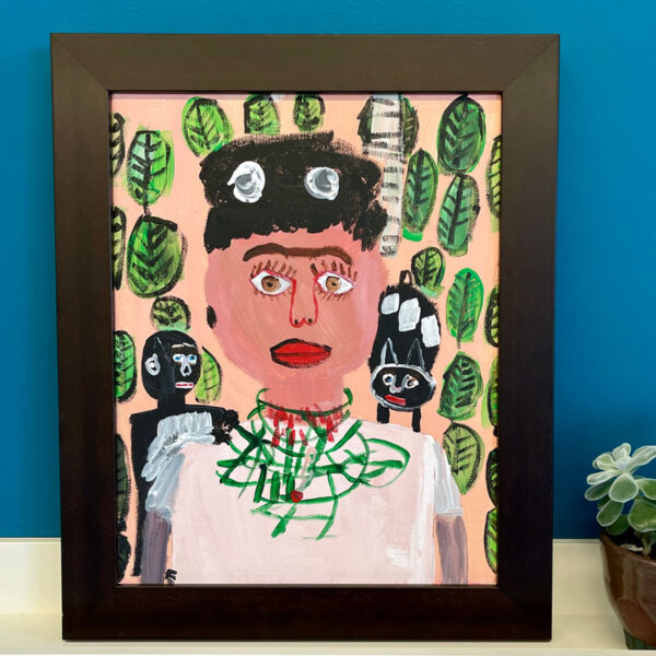 Framed painting of Frida Kahlo by Mark Trafficante