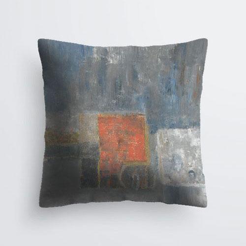 Grey and orange square pillow