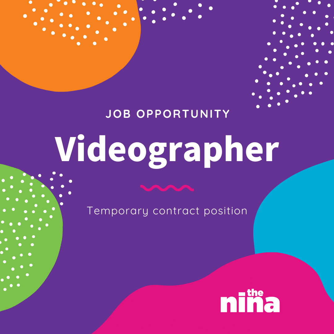 "Purple graphic with text that says ""Job Opportunity Videographer temporary contract position"