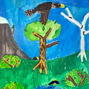 Acrylic painting of a falcon flying over a pond with a fish jumping