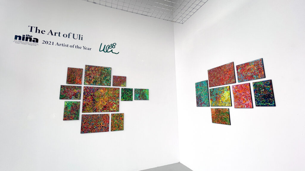 Photo of Uli's abstract paintings in the downtown window gallery
