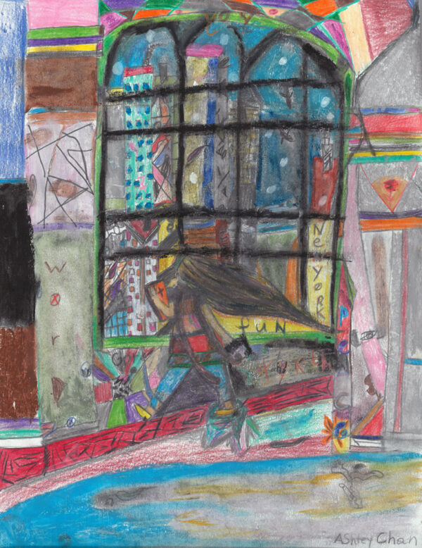 Colourful, detailed drawing of a figure standing near a window