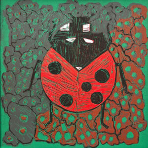 Linocut print of a lady bug