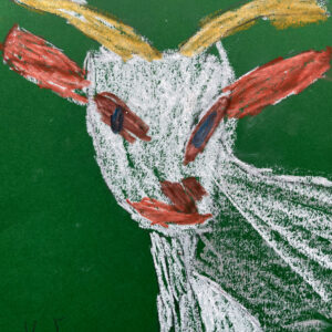 Goat drawing on green paper